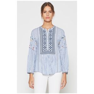 Joie • archana french blue embroidered top